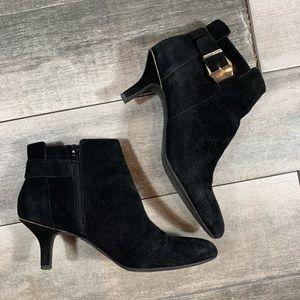 {Anne Klein} leather kitten heel booties